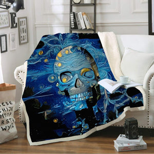 Double layer sugar skull blanket throw for sofa faux fur throw blanket