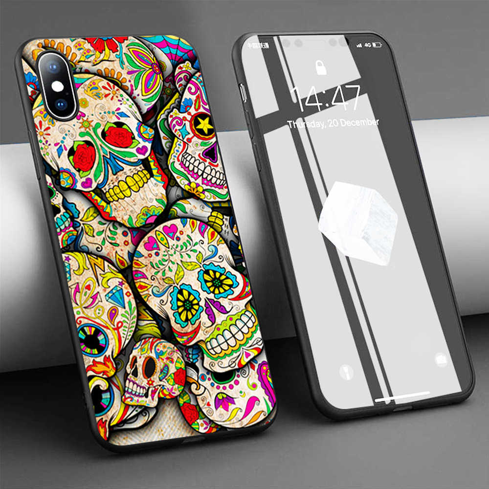 Sugar Skull Collage Soft Phone Case for iPhone