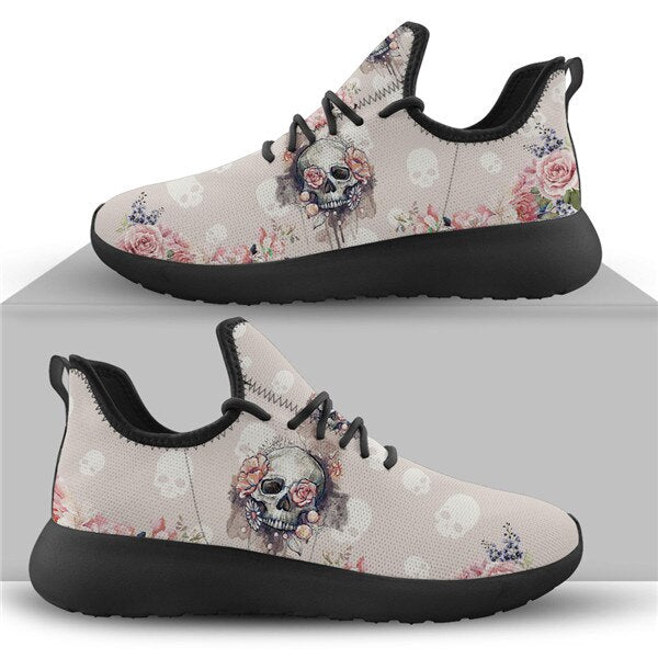 Drop Shipping 2020 Casual Sneakers Flats Women Skull Style Pink Fashion