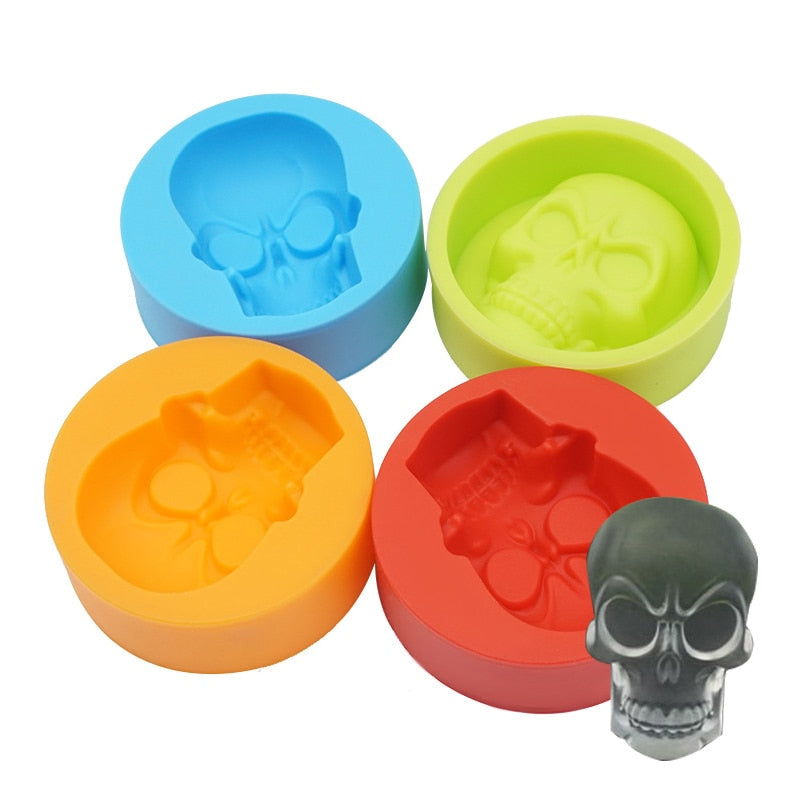 1PC silicone skull ice mold muffin cup cake mold kitchen accessories silicone rubber chocolate candy fondant cake baking tools