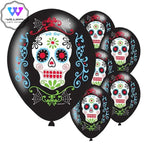 10pcs Day of The Dead Balloon Dia de los Muertos Latex Balloons