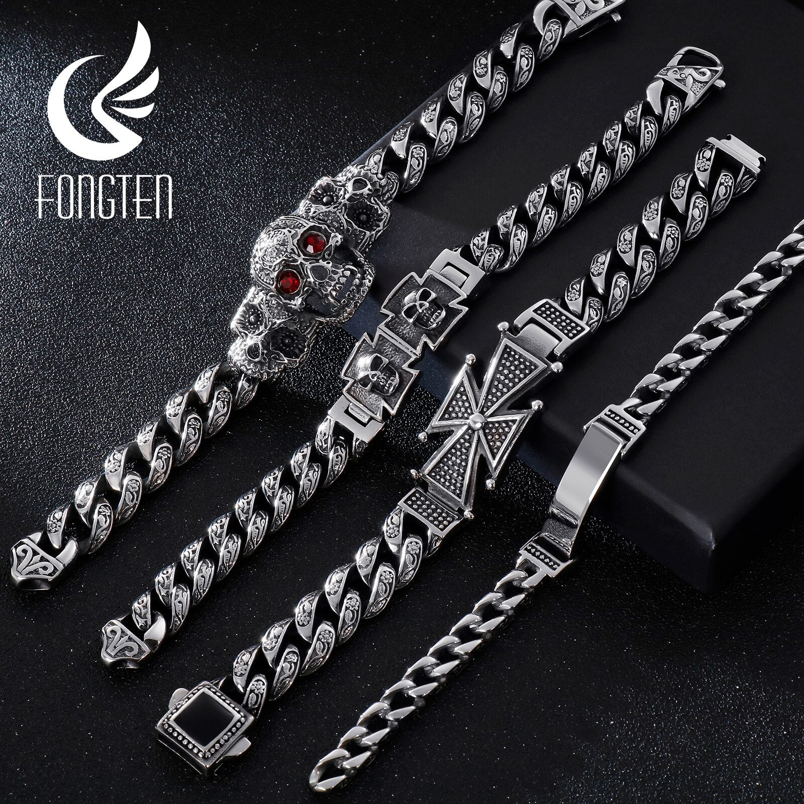 Fongten Skull Cross Curb Men's Bracelet Vintage Black