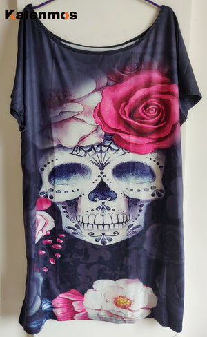 Punk Skull Floral Print Dresses for Women Summer