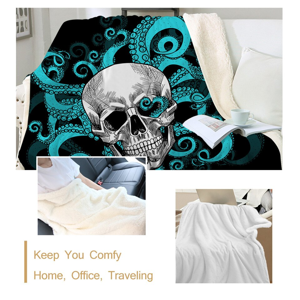 Octopus and Skull Sherpa Blanket Tentacles Hand Soft Plush Throw Blanket