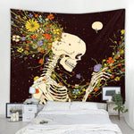 Tarot skull flower Pattern Blanket Indian Mandala Tapestry Wall Hanging