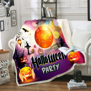 Girls Throw Blanket Grunge Halloween Lady with Sugar Skull Make Up Creepy