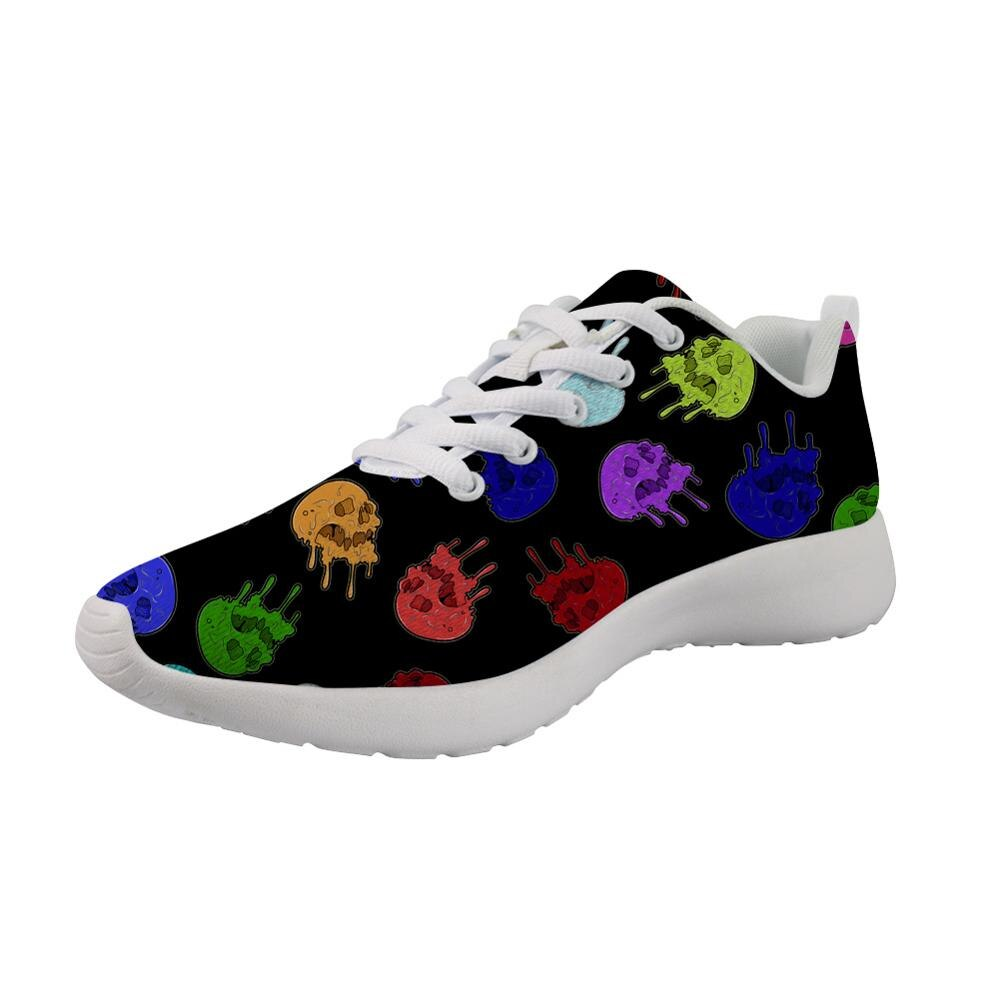 Gotic Mesh Women Sneakers Sugar Skull Printed Casual Flat Shoes