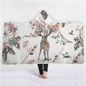 Fashion Sugar Skull Flower Hooded Blanket for Adults Floral Gothic