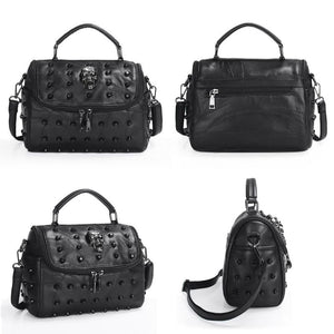 Women Bags Split Sheep Leather Messenger Rivet Skull Tote Handbag