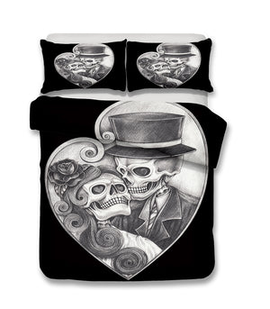 Bedding Set skull Print Duvet cover set lifelike bedclothes with pillowcase
