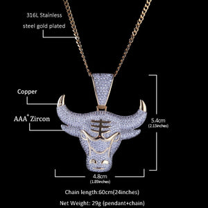Charm King Bull Iced Out Pendant With Round Cut 4mm Tennis Chains