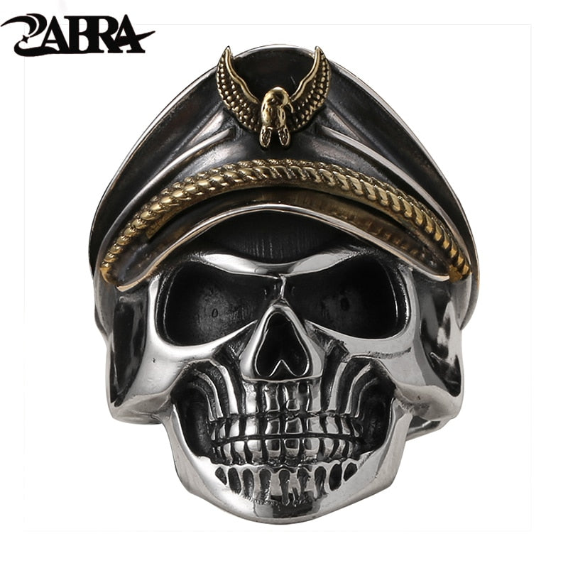 925 Silver Cool Soldier Skull Ring For Men Punk Rock