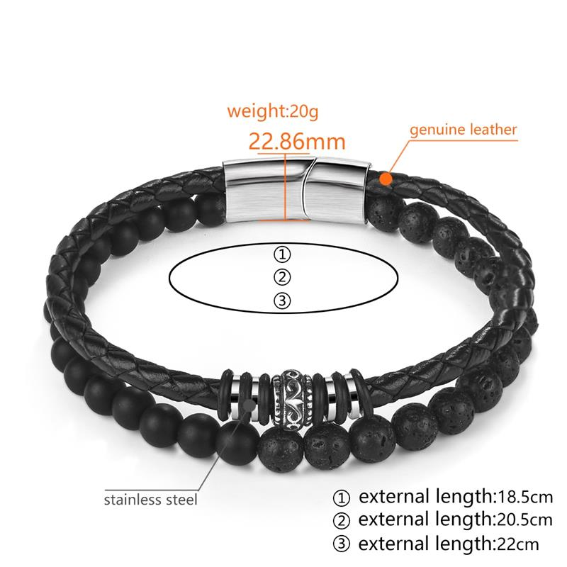 Charm Beads Leather Bracelet For Mens Jewelry Stainless Steel