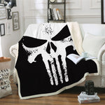 3D Punisher Skull Printed Velvet Plush Throw Blanket Bedspread