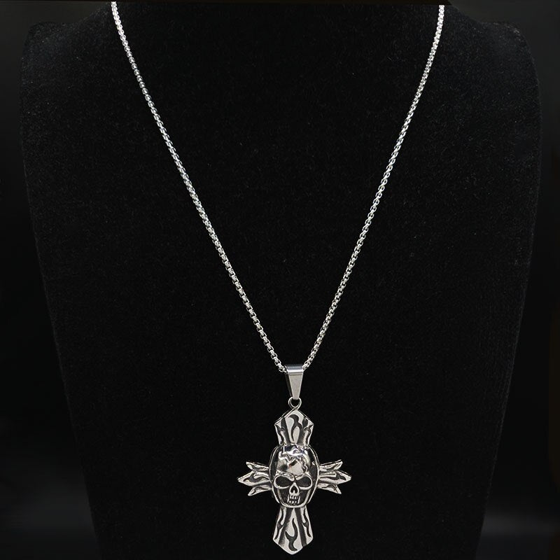 2020 Gothic Skull Cross Stainless Steel Big Necklace Men Silver