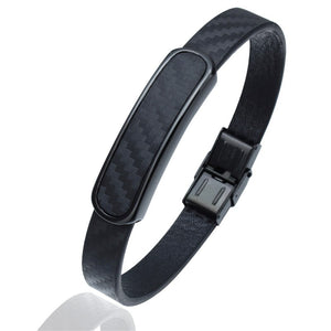Hiphop Style Microfiber Leather Bracelets with Stainless Steel