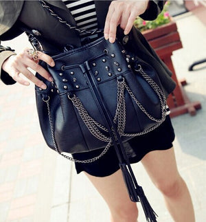 women skull rivet bucket bag fashion tassel chain