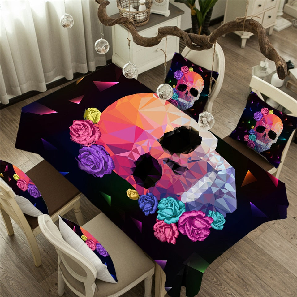 Geometric Skull Tablecloth Gothic Colorful Waterproof Table Cloth