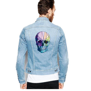Fashion Punk Skull Patches Print On T-shirt A-level Washable Iron On Transfer Colorful Sugar Skull