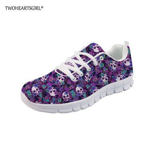 Classic Sugar Skull Print Sneakers Breathable Lace Up Women