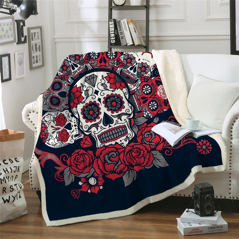 Sugar Skull Blanket Roses Microfiber Sherpa Sofa Throw Blanket Floral