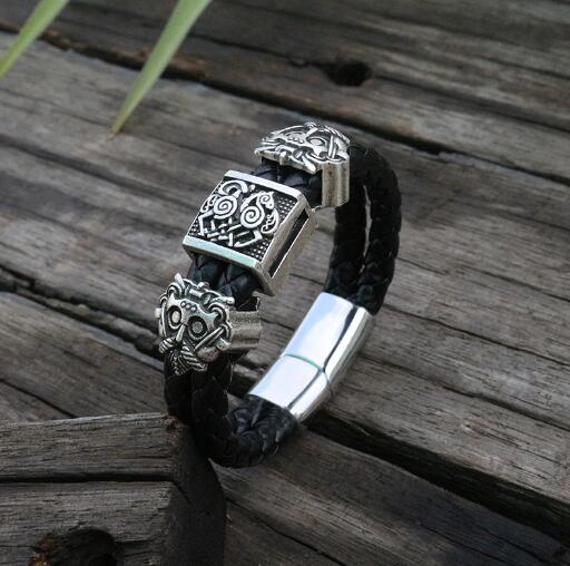 viking slavic Cowhide bracelet men Black Braided Leather Cuff Stainless Steel