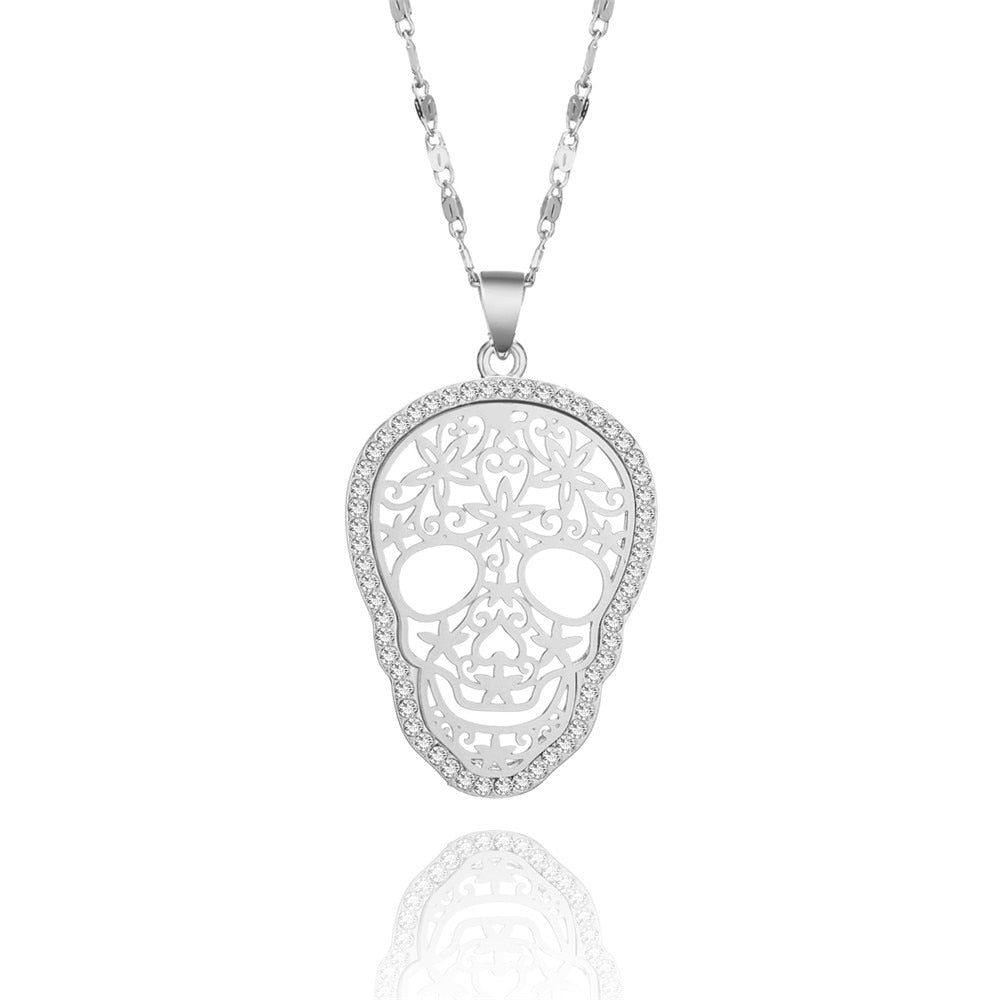 Crystal Flower Skull Charms Necklace For Women