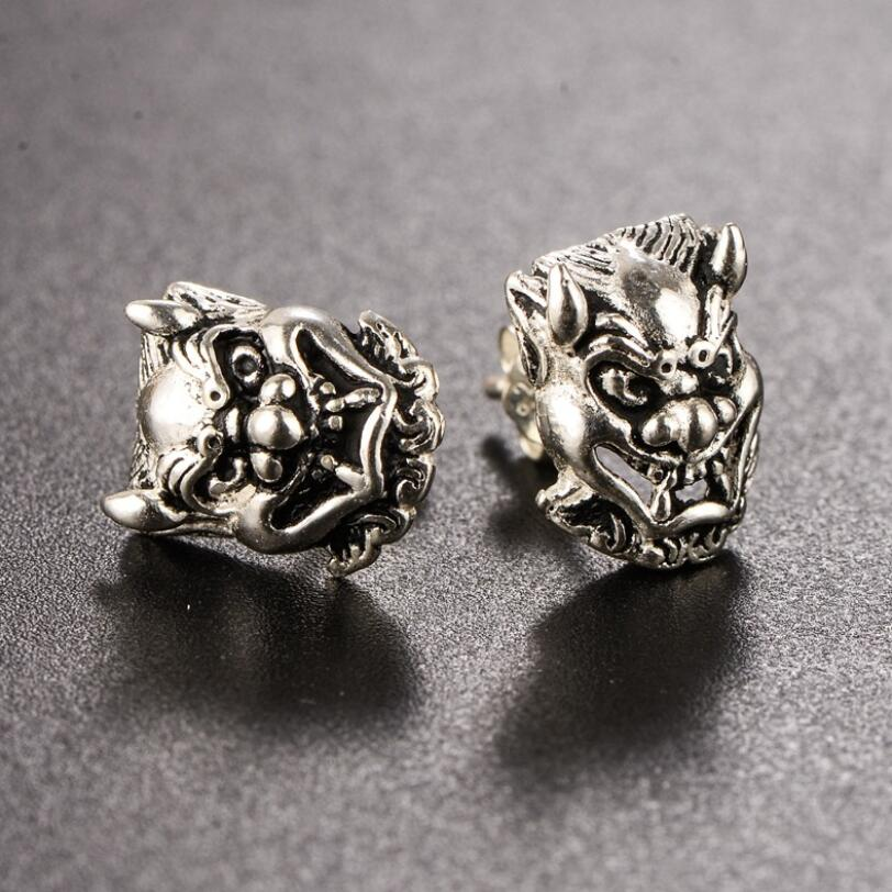 100% 925 Silver Skull-head Earrings Real Sterling Silver Skeleton Stud