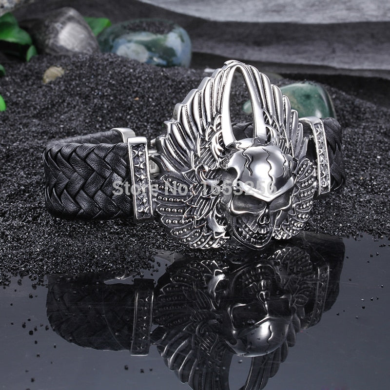 8.66'' Cool 316L Stainless Steel Men's Heavy Genuine leather Large Angel