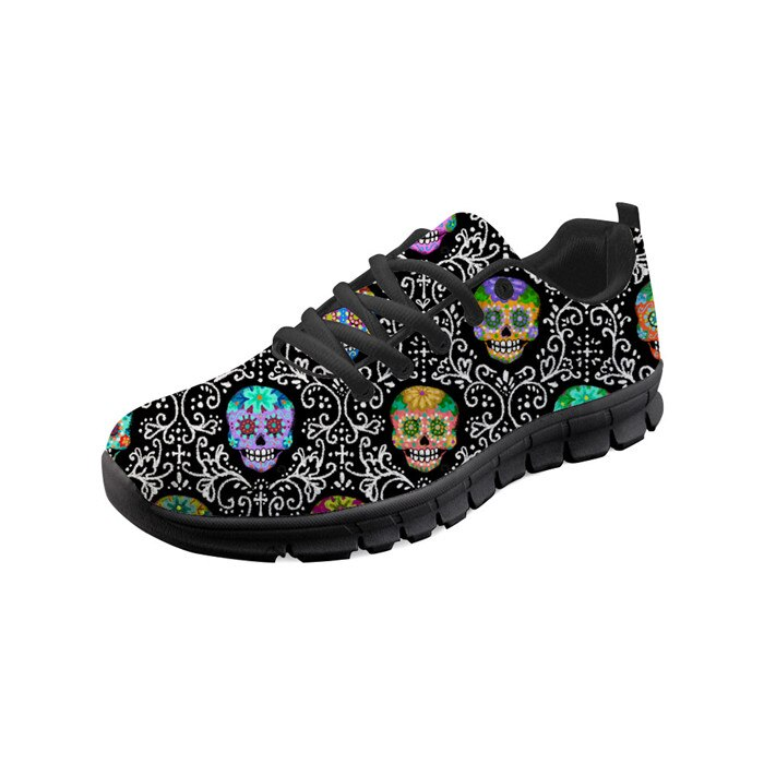 Women Flats Shoes Sugar Skull Calavera Pattern Lace Up Sneakers Running Shoes