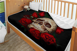 Double layer thick 3d skull blanket flag pattern sherpa plush throw blanket