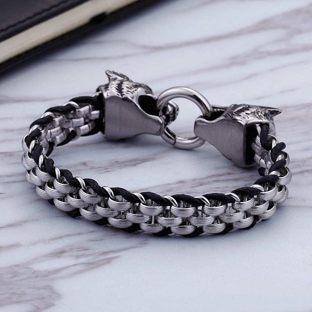 Vintage Wolf Bracelet Stainless Steel Cowhide Leather Men