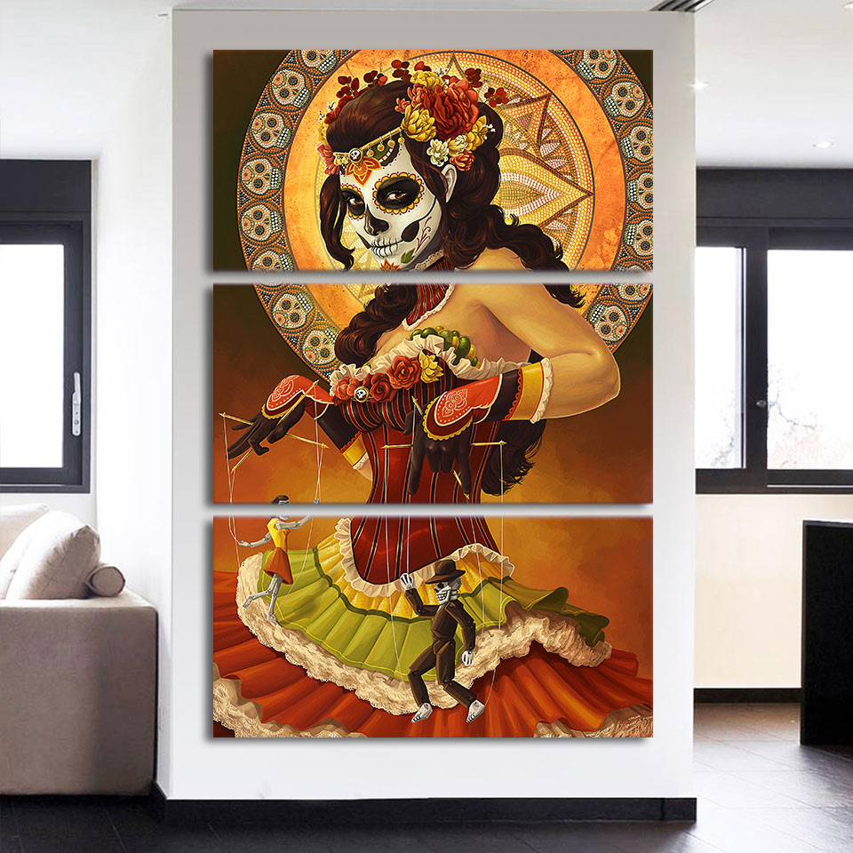 HD printed 3 piece canvas art Day of the Dead Face painting wall pictures for living room modern