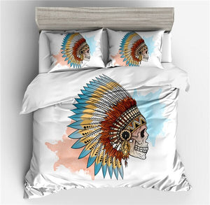 Halloween Fashion Sugar Skull Bedding Set Floral Bed Duvet Cover