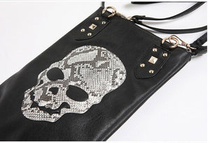 Hot 2019 New Punk Black Skull Face Designer PU leather Handbags