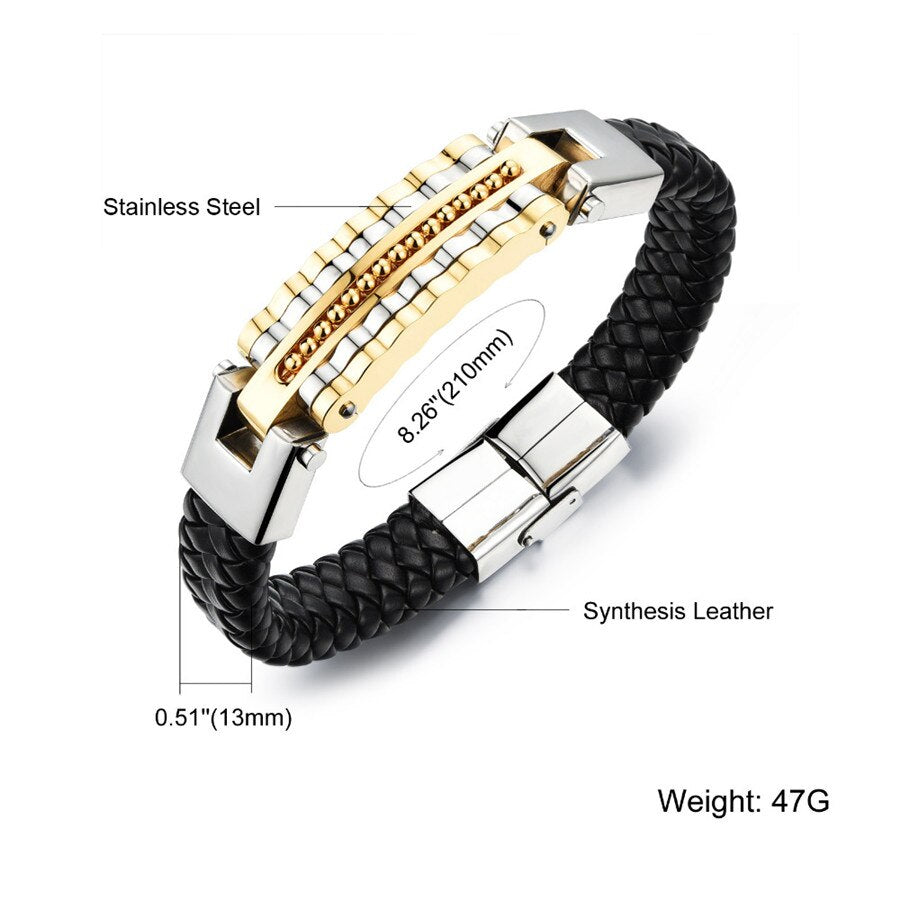 Black Leather Bracelet Men Charm Bangle Stainless Steel