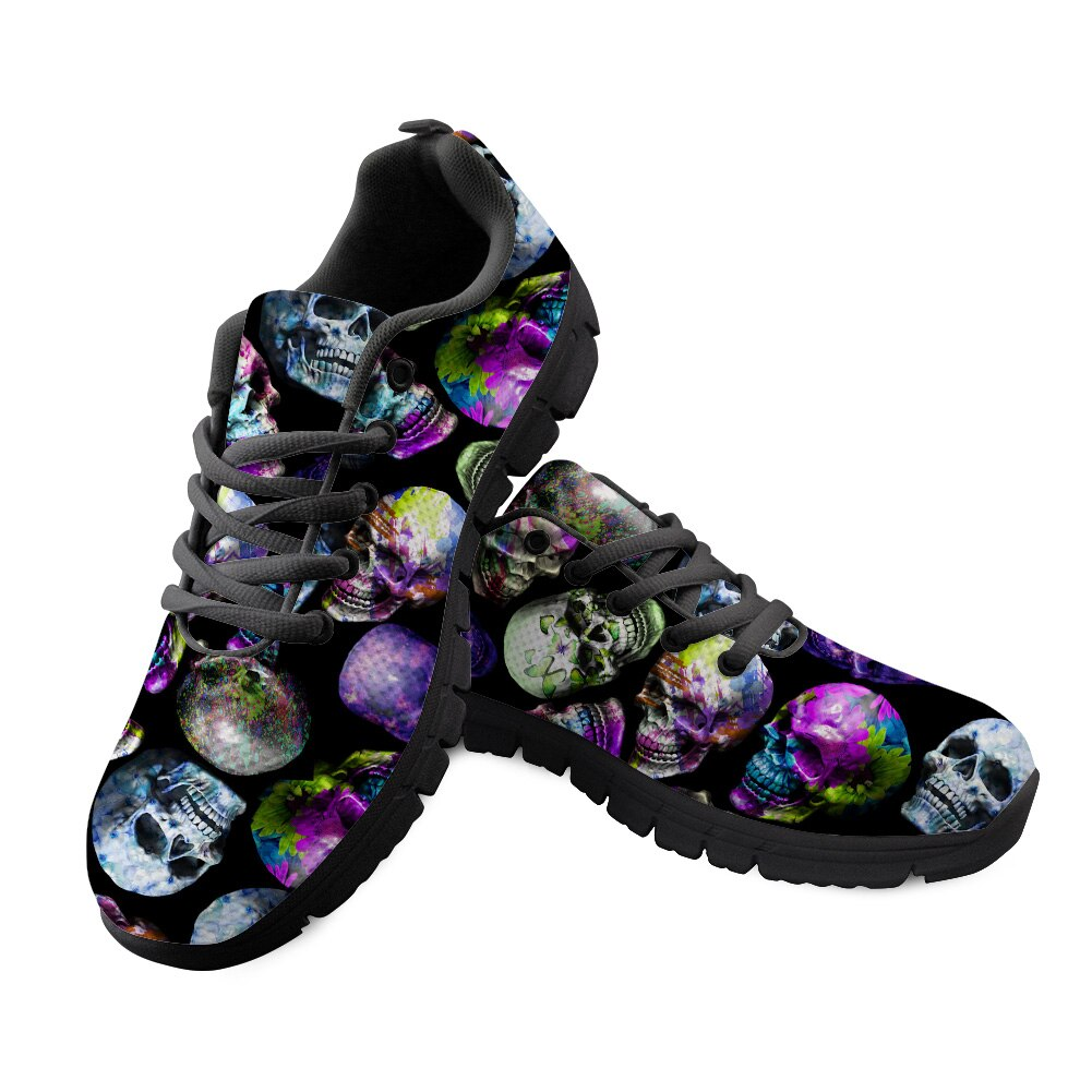 Skull Sneakers Black 3D Butterfly Pattern Casual Women Sneakers Flats Ladies Shoes