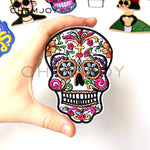 White Skull Mexican Sugar Skull Embroidered Patch for Clothing Iron on Applique for Jackets Biker Patch Clothes Stickers Badges
