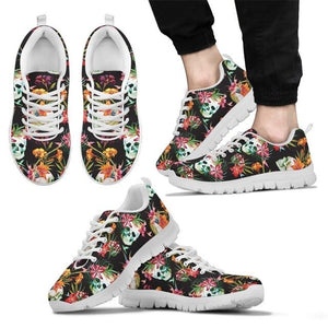 Women Flats Casual Sneakers Blossom Flowers Skull Pattern
