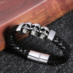 Stainless Steel Leather Bracelets & Bangles Double Black