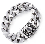 High Quality Men's   Stainless Steel Cuban Curb Link Chain Skull