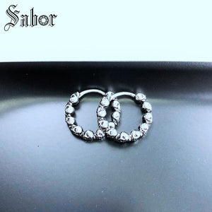 Hoop Earrings Skull silver color Punk Gift For Wome Men High Quality Earring