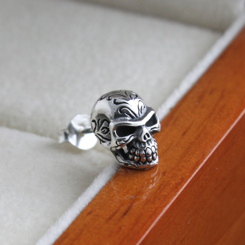 Handmade 925 pure silver skull earing man earring thailand silver