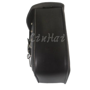 New Black Motorcycle Skull Faux Leather Rectangle Tool Luggage Bag Side