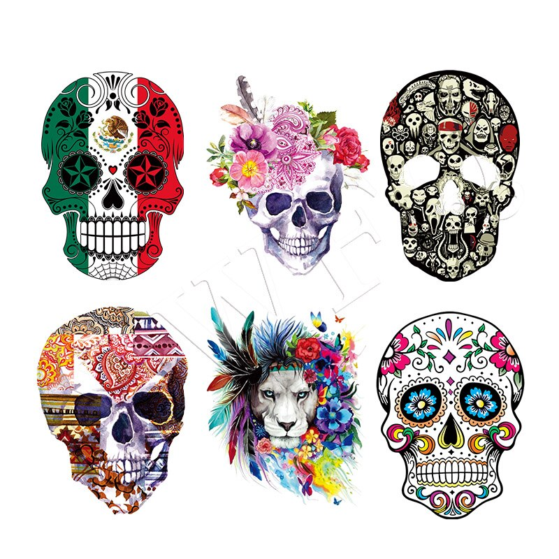 DIY Patches Clothes Stickers Iron-on Parches For Clothing West Coast Skull Patch Sticker Heat Transfer Badges Appliques