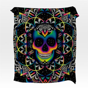 Chaos By Brizbazaar Flannel Blanket Gothic Skull Coral Fleece Bed Blanket