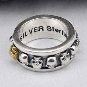S925 Sterling Silver Rotating Spinner Skull Mens Rings
