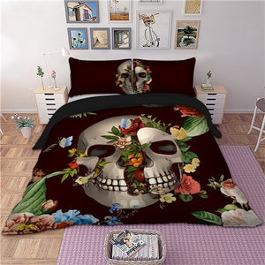 Rose sugar skull printed Bedding Set for comforter Queen King