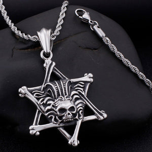 Rocker Gothic Skull & Star Necklace Men 60CM Long Chain