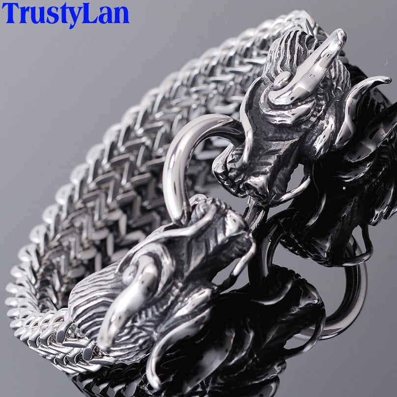 Double Dragon Head Men Bracelet For Man Friendship Mens Bracelets